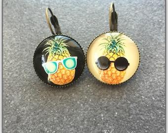 Pineapple glass cabochon, summer, fun earrings