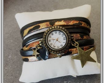 Shows retro leather wrap, leopard, 2 turns