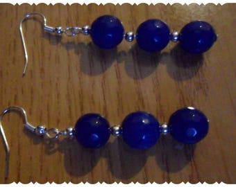 Silver earrings with blue beads and spacers