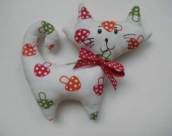 Cuddly cat fabric with mushrooms for children and babies
