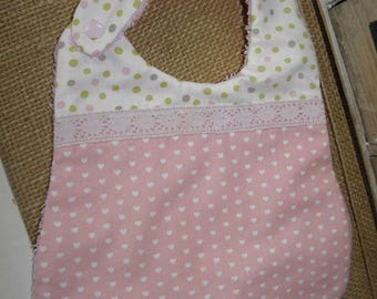 Cotton fabric bib with hearts, dots and sponge for babies from birth to 12 months and up
