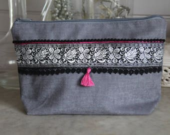 Cotton pouch decorated gray velvety in black, silver, mini stripe jacquard lace tassels, pink tassel.