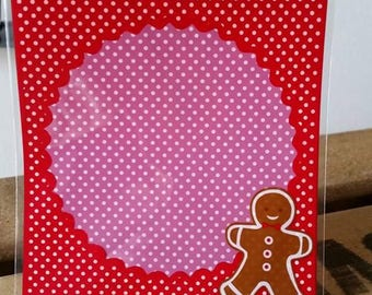 clutch bag gift Christmas gingerbread man x 5