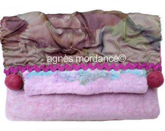 "Textile bag ""confidence"" - felted Merino Wool, fiber - unique"