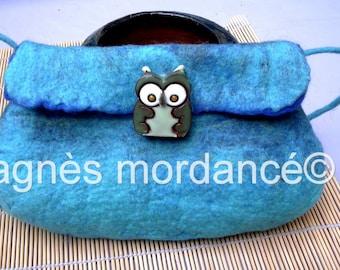 "Felted clutch ""OWL"" blue pure Merino Wool felted ceramic - OOAK"