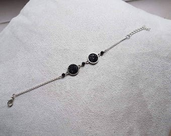 chic silver and black color bracelet
