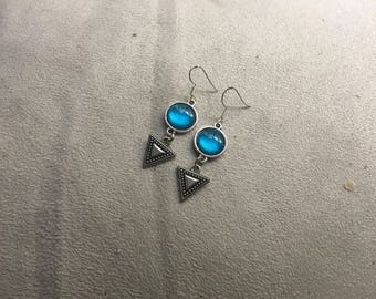 blue triangle earring
