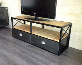 Furniture industrial tv blackened steel and wood