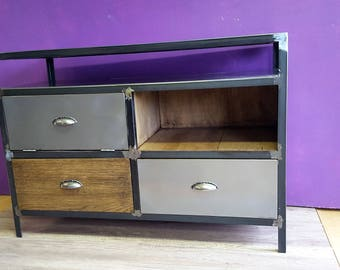 Cabinet industrial oak tv