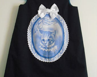 "Cute little winter dress ""Lady Cat Portrait"" T 4/5 years"
