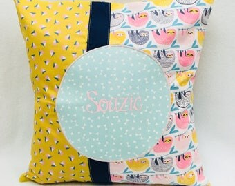 30 x 30 cm - cotton - pink and green Cushion cover