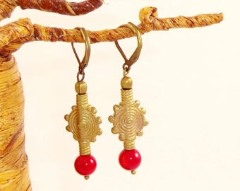 Red coral bead and bronze ethnic earrings