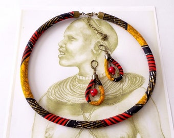 Finery ethnic necklace and earrings in African Wax fabric