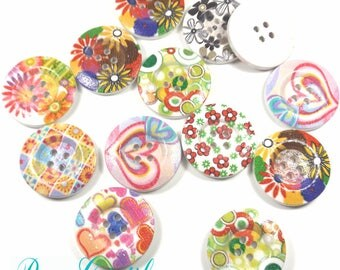 10 pcs Wooden Buttons Printed Multicolored Buttons 4 Holes 28mm