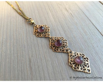 Ysaure art deco necklace, with amethyst cabochons