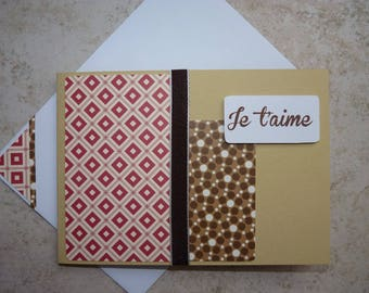 """Card """"I love you"""" red, beige, Brown"""