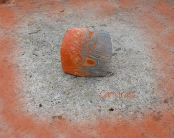 Square polymer clay orange - grey ring.
