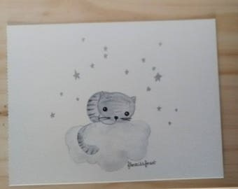 Tabby cat on her cloud illustration