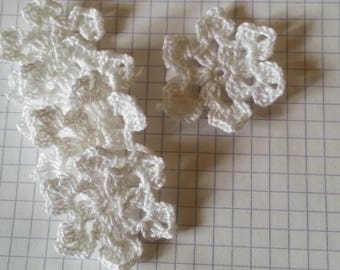 Applique flower crochet snowflake snow white cotton