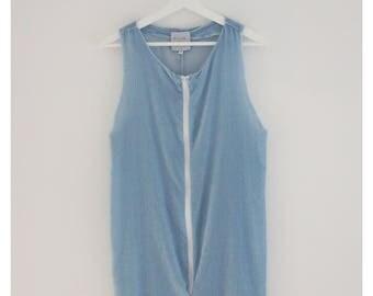 Blue silk velvet dress