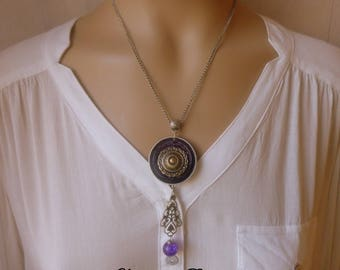 Necklace short purple and silver pendant Locket
