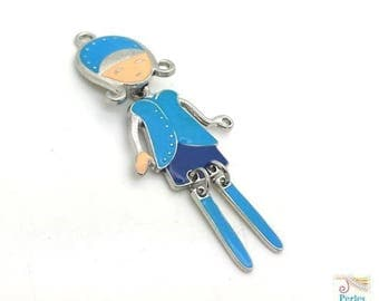 1 pendant girl doll articulated metal enamel blue 24x58mm (bre508)