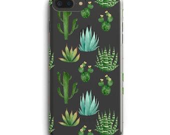 iPhone case, Cactus phone case, iPhone 6 case, iPhone 6 + case, iPhone 7 case, iPhone 7 + case, transparent phone case, iPhone 5 succulent