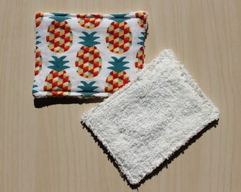 "Washable wipe ""small"" - 8.5 x 11 cm - pineapple motif"