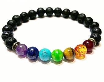 7 chakra healing bracelet lava stone bracelet rainbow bracelet protection energy healing jewelry lava rock jewelry men women beaded bracelet