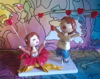 Wedding figurines: Cake topper couple of cold porcelain