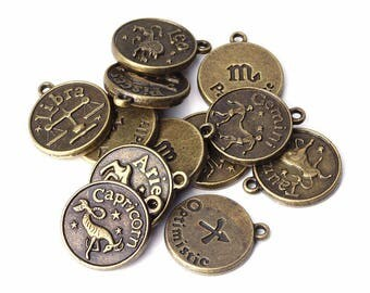 astrological signs 12 charms pendant bronze 16 mm