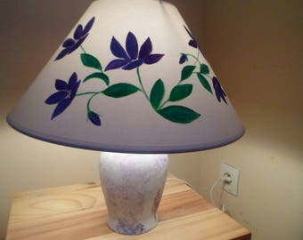 lamp bedside porcelain and painted his Lampshade