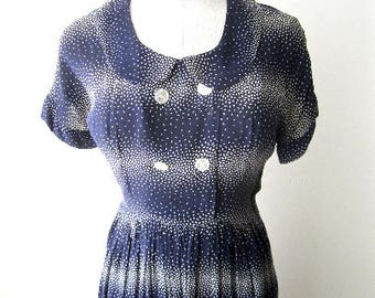 M 40s 50s Day Dress Blue White Dot Print Summer Button Front Round Collar Short Sleeves by Lawson Swing Lindy Hop Medium