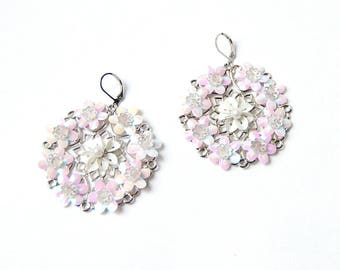 Shaman wedding - earrings floral, embroidered flowers, embroidery