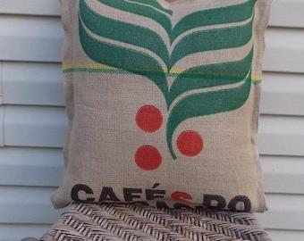 Burlap Coffee Sack Pillow Cushion