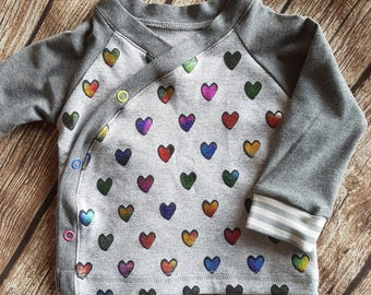 Baby wrap shirt colorful heart size 74