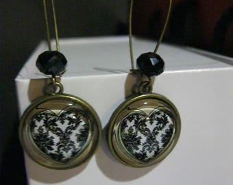 "Earrings retro/vintage Bronze with cabochon glass 18mm ""Joli coeur"""