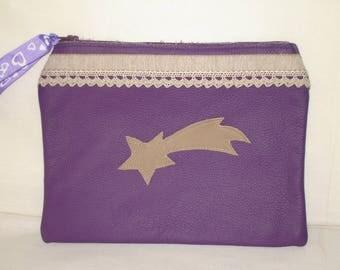 flat clutch in cowhide leather purple