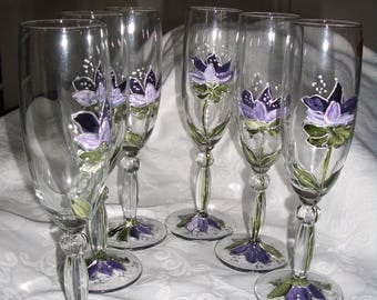Hand painted by riviera pearl champagne flutes
