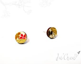 Stud Earrings round origami minimalist wood