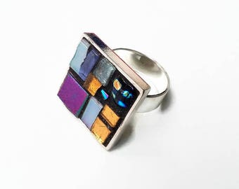Adjustable and purple Golden Square silver plated metal mosaic