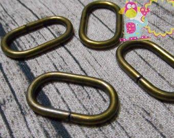 Set of 20 Stirrups oval Bronze 2.5 cm