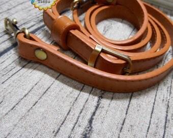 1 x long shoulder strap handle adjustable light brown 12mm width leather imitation metal bronze
