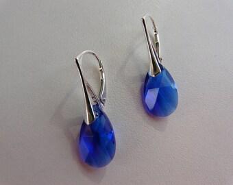 BOUCLES D OREILLES -  Larme en crystal Swarovski majestic blue - Argent 925