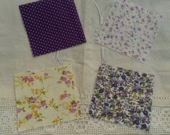 4 miniatures 9.5 X 9.5 cm / matching liberty fabric / shades of purple and white
