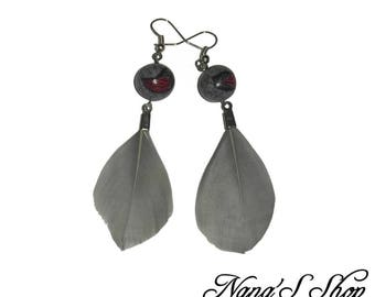 Earrings feathers, Feather Loving, gray