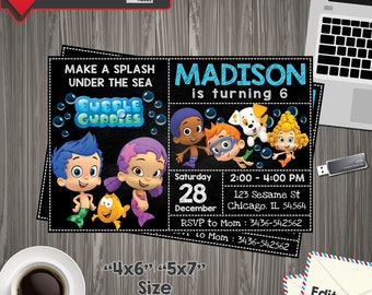 Bubble Guppies Invitation, Bubble Guppies Birthday, Bubble Guppies PDF, Bubble Guppies Party, Bubble Guppies Printable, Guppies Editable
