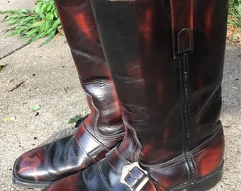 Vintage 1970s Oxblood buckle boots