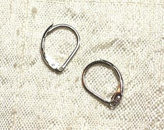 10pc - dangle earrings silver sleepers 15mm N ° 1 4558550004017 Rhodium