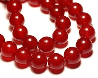 4pc - beads - Jade balls 14mm red - 8741140016712